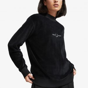 FRED PERRY VELOUR EMBROIDERED SWEATSHIRT BLACK