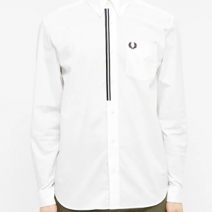 FRED PERRY TAPED PLACKET SHIRT SNOW WHITE