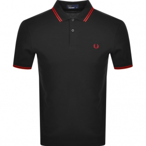 FRED PERRY TWIN TIPPED SHIRT BLK/RED/RED