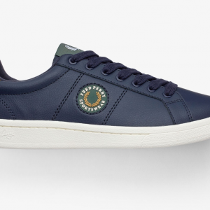FRED PERRY B721 LEATHER /BADGE 266/CARBON BLUE