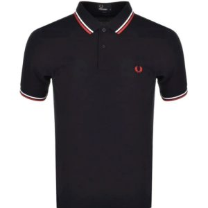 FRED PERRY TWIN TIPPED SHIRT NAVY/WHITE