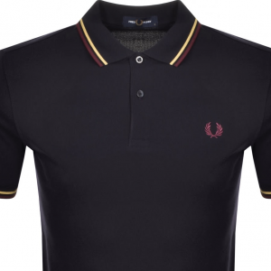 FRED PERRY TWIN TIPPED SHIRT NAVY/CHAMP/MAHOG