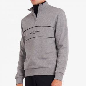 FRED PERRY EMB PANEL HALF ZIP SWEATSHIRT STEEL MARL