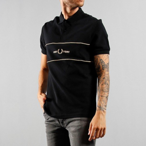 FRED PERRY EMBROIDERED PANEL POLO SHIRT BLACK