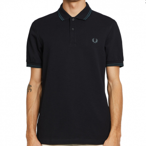 FRED PERRY TWIN TIPPED SHIRT BLACK/PETROL
