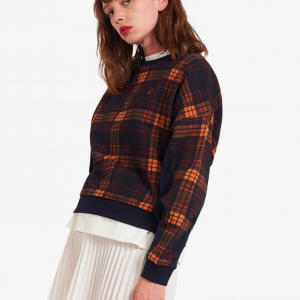 FRED PERRY TARTAN SWEATSHIRT NAVY