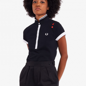 FRED PERRY CONTRAST POLO SHIRT BLACK