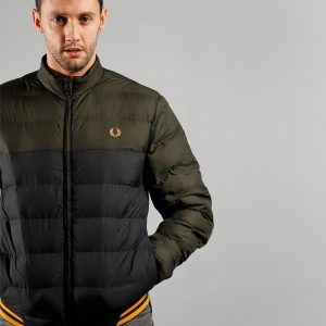 FRED PERRY COLOUR BLOCK INSULATED JACKET HUNTING GREEN