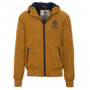 FRANKLIN&MARSHALL HOODED JACKET LOGO CAMEL