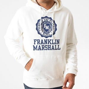 FRANKLIN&MARSHALL HOODED COLLEGE SWEAT SNOW WHITE